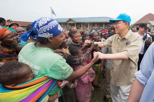 Secretary-General visits IDP camp in Kitchanga, North Kivu, DRC.