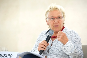 Nan Buzard, ICVA addresses during the World Humanitarian Day, Palais des Nations, Geneva. 19 August 2016. UN Photo / Violaine Martin