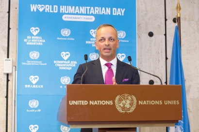 Ian Richards, Executive Secretary, Staff Coordinating Council addresses during the Solemn Commemoration Ceremony of the World Humanitarian Day, Palais des Nations, Geneva. 19 August 2016. UN Photo / Violaine Martin