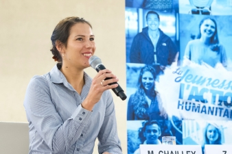 Ms. Marie Chailley, Swiss Nursing Student, volunteered with refugee issues in the Middle East addresses during the World Humanitarian Day, Palais des Nations, Geneva. 19 August 2016. UN Photo / Violaine Martin