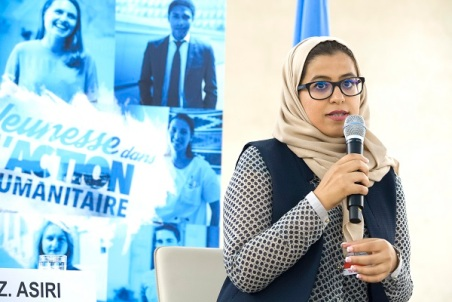 Zohoor Asiri, Saudi medical doctor who has volunteered with refugee issues in Europ at the World Humanitarian Day, Palais des Nations, Geneva. 19 August 2016. UN Photo / Violaine Martin